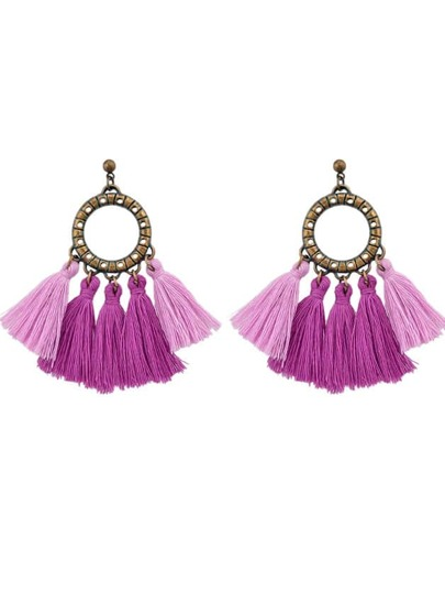 Purple Boho Circle With Tassel Big Statement Earrings