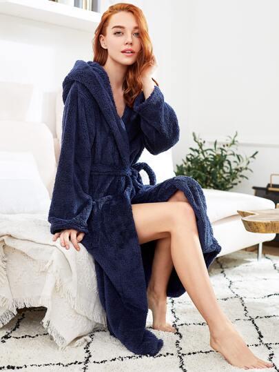 Faux Fleece Self Tie Hooded Robe