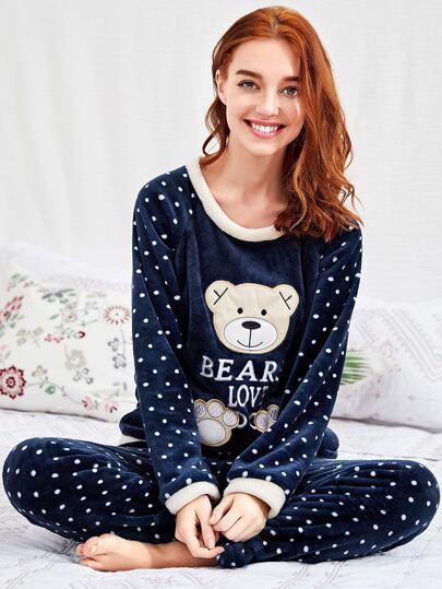 Contrast Trim Bear Embroidered Spot Plush Pj Set