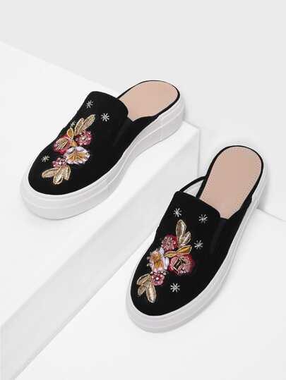 Chaussures plates brodé fleur