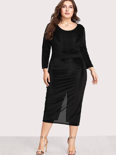 Split Back Velvet Dress