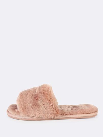 Faux Fur Slide Slippers MAUVE