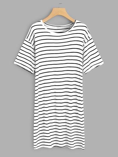 Slit Side Striped Tee Dress