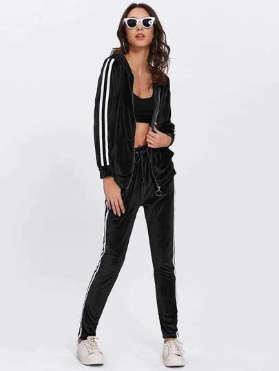 Chaqueta con capucha de terciopelo de rayas laterales con pantalones