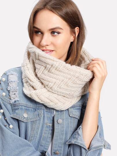 Textured Knit Infinity Scarf