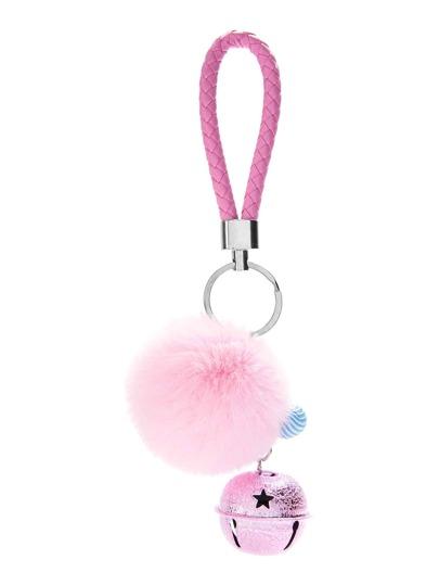 Pom Pom Keychain With Bell