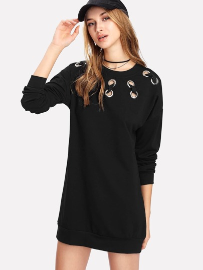 Metal Grommet Detail Drop Shoulder Sweatshirt Dress