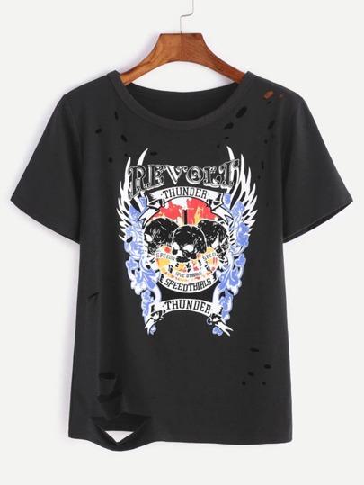 Imprimé Noir Ripped T-shirt