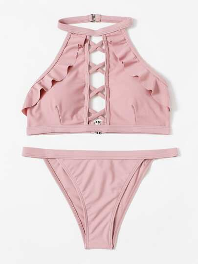 Criss Cross Ruffle Bikini Set