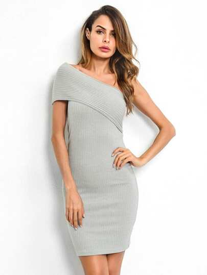Oblique Shoulder Bodycon Sweater Dress