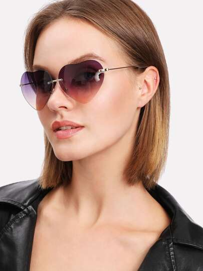 Heart Lens Rimless Sunglasses