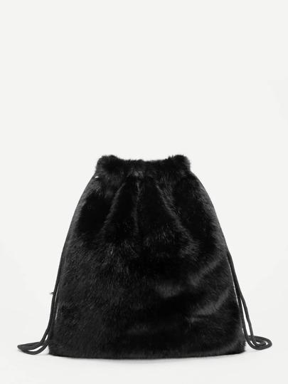 Faux Fur Drawstring Bag