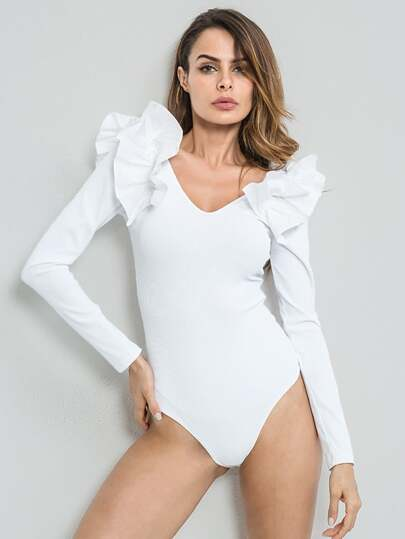 Double V Exaggerated Flounce Trim Bodysuit
