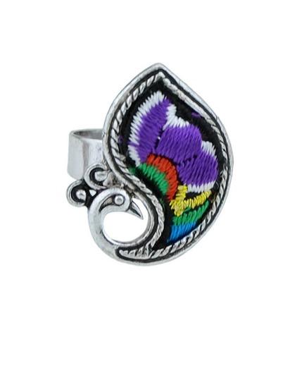 Purple Handmade Embroidery Animal Peacock Fingr Rings