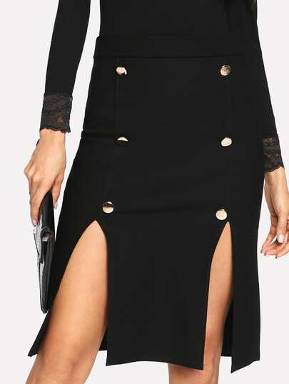 M-Split Button Front Skirt