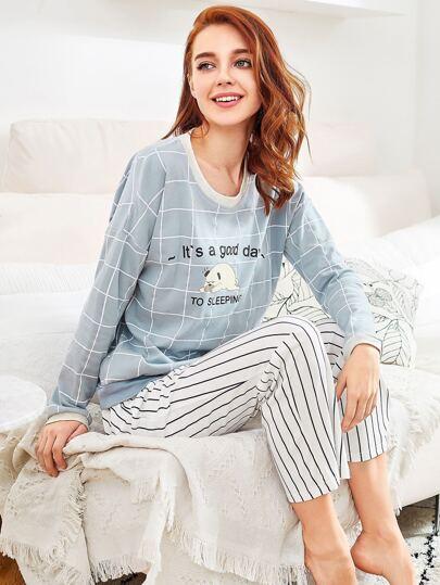 Grid Print Pullover & Pants Pj Set