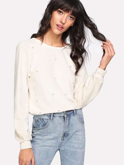 Pearl Beading Button Up V Back Top