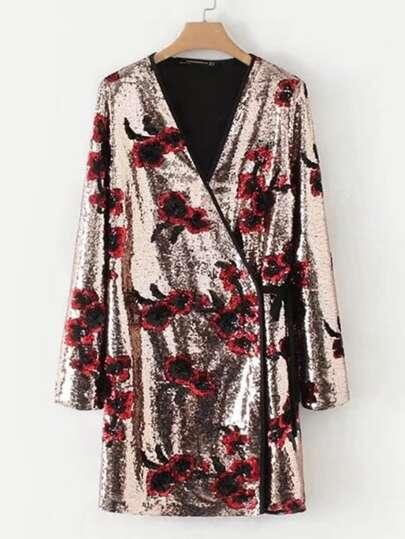 Self Tie Floral Surplice Sequin Dress
