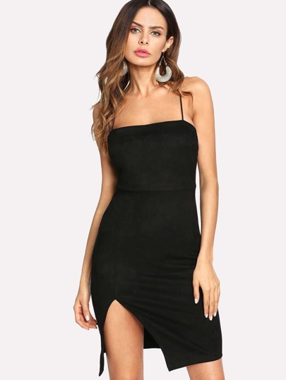 Lace Up Back Split Suede Slip Dress
