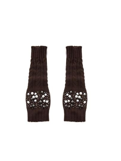 Faux Pearl Detail Knit Leg Warmer