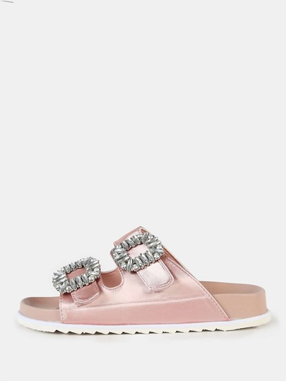 Two Strap Jewel Buckle Sandals DUSTY PINK