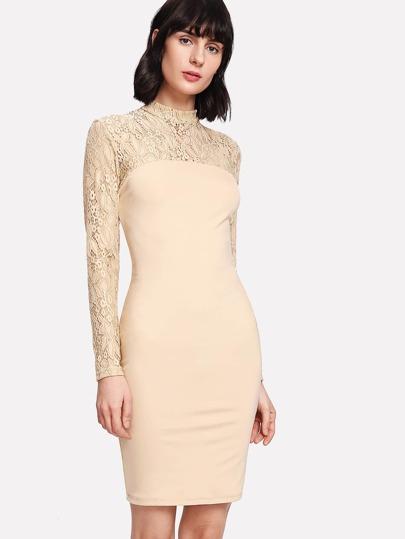 Floral Lace Shoulder Pencil Dress