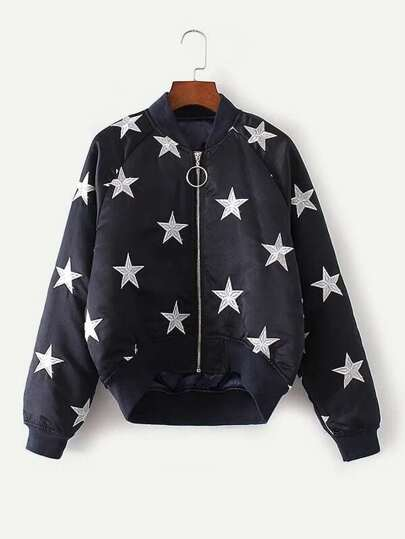 Star Embroidery Raglan Sleeve Quilted Jacket