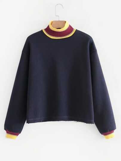 Striped Trim Raw Hem Sweatshirt
