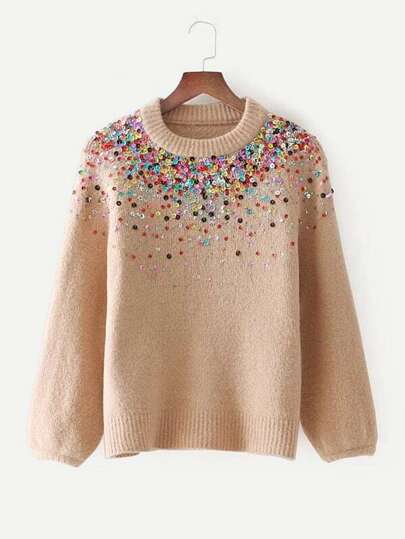 Sequin Embellished Raglan Sleeve Sweater