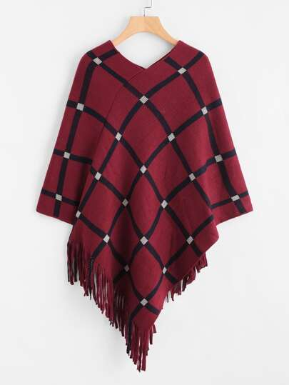 Tattersall Plaid Fringe Hem Poncho Sweater