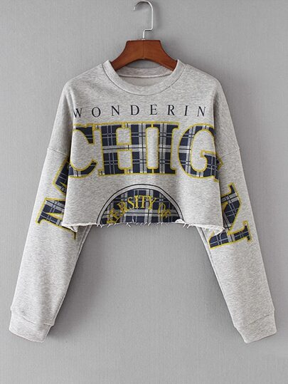 Raw Hem Crop Sweatshirt