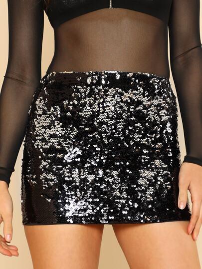 Sequin Mini Skirt BLACK