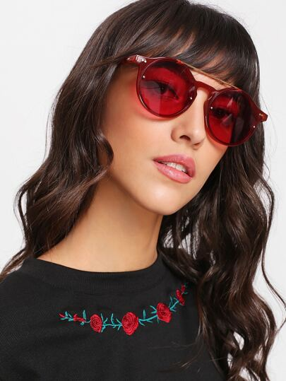 Double Bridge Tinted Lens Sunglasses