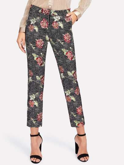 Flower Print Plaid Pants