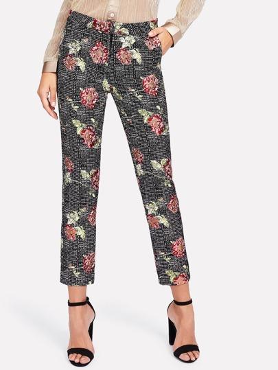 Hosen mit Blumenmuster und Plaid