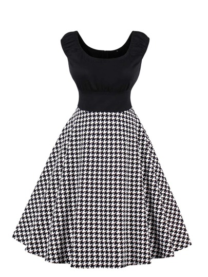 Houndstooth Circle Dress
