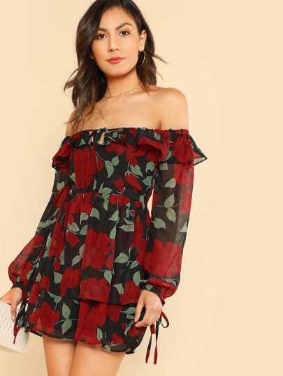 Floral Print Off Shoulder Sheer Dress RED BLACK
