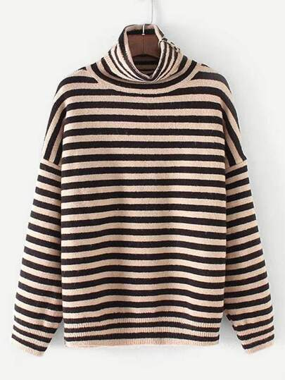 Turtleneck Striped Knitwear