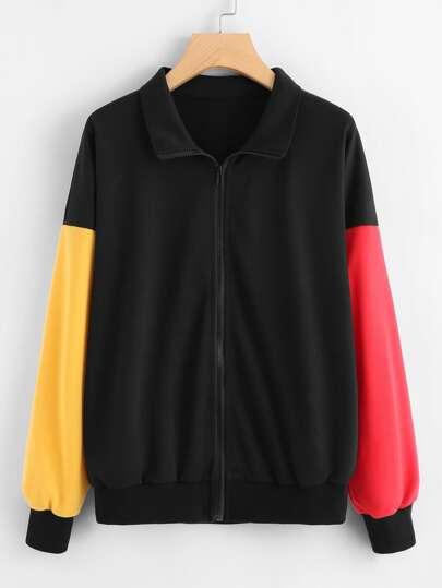 Contrast Sleeve Zip Up Jacket