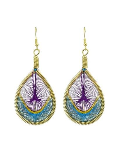 Purple Colorful Rope Handmade Braided Wate Drop Hanging Earrings