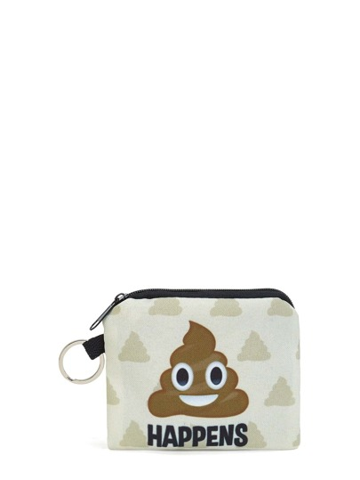 Cartoon Print Zipper Pouch