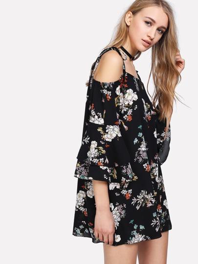 Self Tie Shoulder Layered Trumpet Sleeve Floral Dress