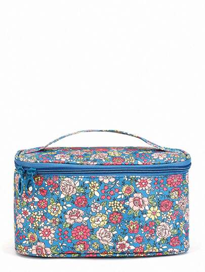 PU Flower Print Makeup Bag