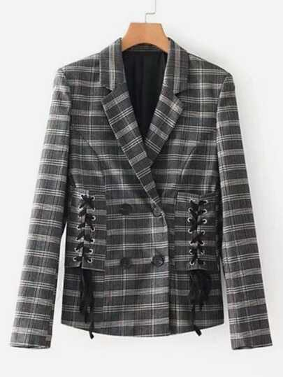 Lace Up Tailored Plaid Blazer