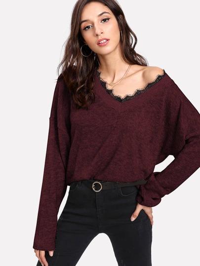 Pull en tricot martelé en dentelle contrastée