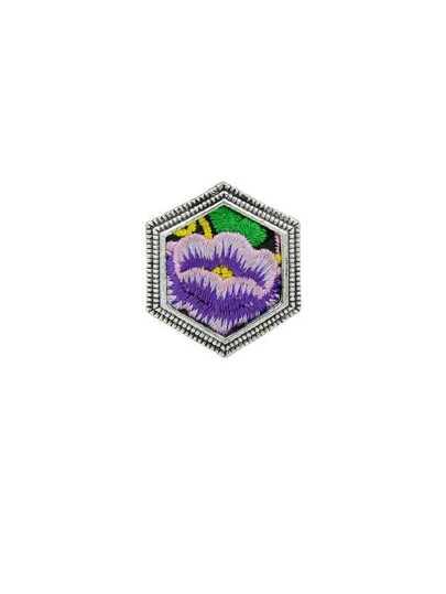 Purple Handmade Flower Pattern Embroidery Rhombic Finger Rings