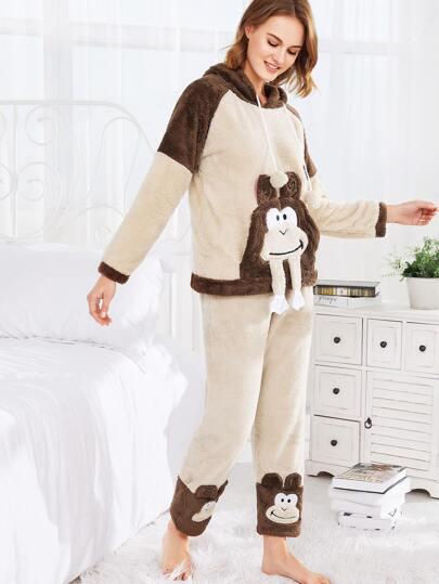 Conjunto de pijama con capucha con mono