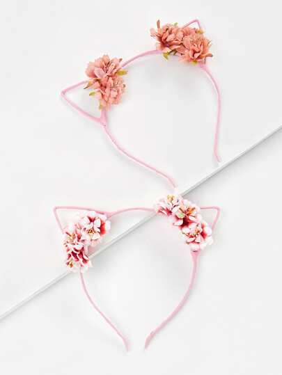 Cat Ear Flower Decorated Headband 2pcs