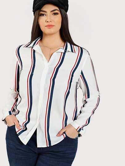 Shirt rayure avec pan asymétrique