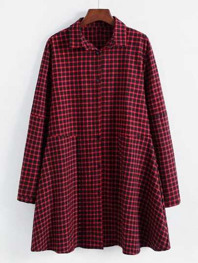 Gingham Smock Shirt Dress